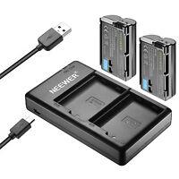 Neewer 2pcs 2100mAh Replacement Li-ion Battery for Nikon EN-EL15 w/ Dual Charger