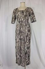 H&M Women's Open back Reptile Stretchy Mid Calf Brown/Beige Sheath Dress Sz 12