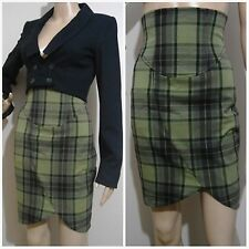 REVIEW size 6 high waisted checked / tartan green toned SKIRT with angled hem