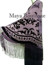 Eggplant Piano Shawl Scarf Burnout Velvet Square With Fringes Maya Matazaro