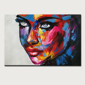 Mintura Handmade Oil Paintings On Canvas A Woman's Face Home Decor  Wall Sticker