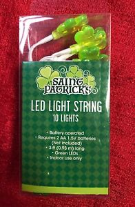 10 St Patrick's Day Shamrock LED String Lights, Wire 3ft Long Battery Operated