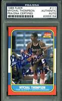 "Blazers Mychal Thompson ""#1 Pick 1978"" Signed 1986 Fleer #111 Card PSA Slabbed"