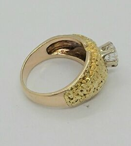 Natural Alaskan 22K Gold Nuggets 10k gold Ring Size 9 - 8.8grams