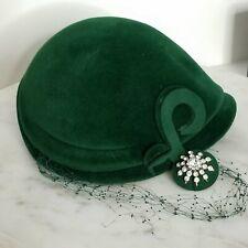 New listing Vtg 40s 50s Woman's Hat Green Velvet Rhinestone Capulet Cloche Made In France 22