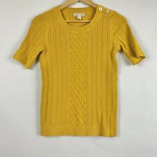 Banana Republic Marigold Yellow Cable Knit Sweater Small Button Collar