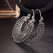Ethnic Hollow Out Carving U-Shaped Basket Women Wire Hoop Drop Earrings Cheap