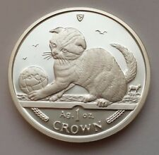 2000 Isle Of Man Scottish Fold Cat 1Oz 999 Crown Silver Proof Coin
