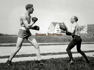1910s Boxing British Billy Wells & Johnny Coulon Spar Glass Camera Negative #2