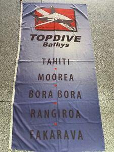 """HUGE 3' X 6"""" TAHITI, MOOREA, BORA BORA - POLE FLAG WITH SHARK AND SCUBA FLAG"""