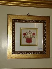 Quadro corallo / coral - Vaso con fiori - Arredamento Casa Decoro 20 x 20 cm