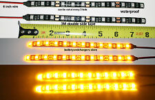 2 AMBER BRIGHT 8 inch 12 LED Waterproof Flexible Light Strip BLACK PCB board