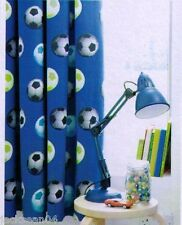 BLUE FOOTBALL SOCCER COTTON LINED CURTAINS DRAPES 66X72 TO MATCH DUVET