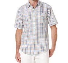 Cubavera Camisa Hombre Talla S Blanco multicolor Cuadros Algodón Manga Corta