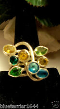Marvelous silver ring with  multi colored semi precious stones Citrine,Peridot