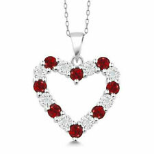 Sterling Silver Red Ruby and White CZ Stones Heart Pendant Necklace Heart Gift