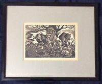 Fritz Eichenberg 'The Peaceable Kingdom'  Pub 1950 Pencil Signed