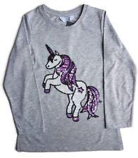 Primark Unicorn Glittering Sequins T shirt Top Long sleeves Girls Kids NEW BNWT