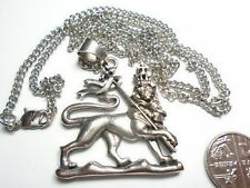"""925 SILVER PLATED LION OF JUDAH 27"""" RASTA CHAIN LARGE 1.75"""" CLEARANCE 50 % LESS"""