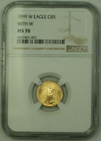 1999-W Emergency Issue $5 1/10th oz American Gold Eagle AGE Coin NGC MS-70
