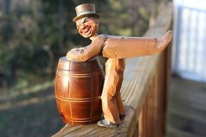 Antique Germany or Austria Carved Painted Wood Figural Tobacco Barrel Container