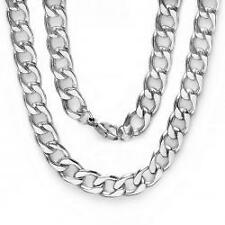 Stainless Steel Men's Platinum Plated Hip Hop Cuban Chain (9 MM x 36 Inch)