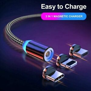 3 in 1 Magnetisches LED Ladekabel 1M Micro USB Typ C iPad Samsung iPhone Huawei
