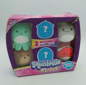 Squishville Mini Squishmallow 6 Pack Sealife Squad Octopus Fish DAMAGED BOX