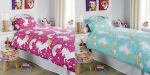 Unicorn Kids Girls Pink Double Duvet Quilt Cover Bedding Set Fitted Sheet