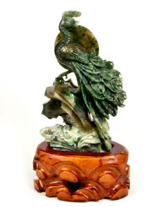 Dushan Jade Stone Peacock Statue Natural Blue Green Color