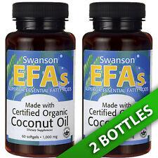 Certified Organic Coconut Oil 2X60 Pills 1000MG Essential Fatty Acids by Swanson