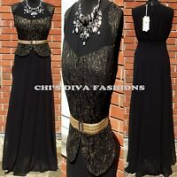 """Beautiful Embroidered Lace Prom Maxi Dress Size UK 14/16 BLACK. LENGHT 60"""""""