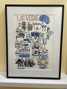 Las Vegas Landmarks Architecture Print By Julie Gash With Mount And Frame