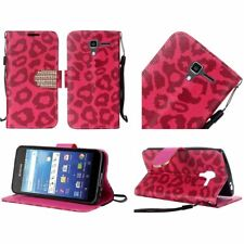 HR Wireless Cell Phone Case for Kyocera Hydro View C6742 Hot Pink Leopard