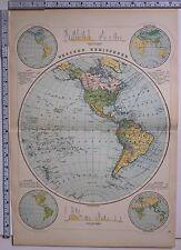 1891 ANTIQUE MAP ~ WESTERN HEMISPHERE MOUNTAINS SNOWFALL NORTH AMERICA