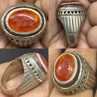 Unique Ancient Roman Agate intaglio beautiful Solid Silver Ring