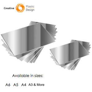 Silver Acrylic Mirror Sheet Plastic Material Mirror Perspex Panel A4 A5 A6 More