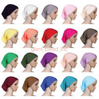 Muslim Women Soft Under Scarf Inner Cap Bone Bonnet Neck Cover Hijab Wrap C