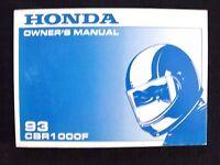 GENUINE 1993 HONDA 1000 CBR1000F MOTORCYCLE OPERATORS MANUAL VERY NICE