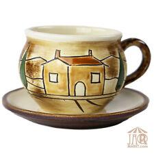 TASSE & SOUCOUPE 2 pièces - en céramique - Manuellement gerilltes Toscane