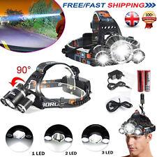 6000 LM Lumens 3x Xm-l T6 LED Rechargeable Head Torch Headlamp Lamp Light