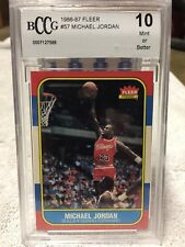 1986-87 FLEER BASKETBALL CARD 57 MICHAEL JORDAN HOF BULLS RC ROOKIE BCCG 10 MINT