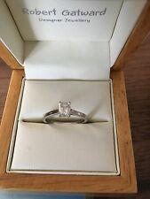 Anello di diamanti solitario platino taglio a smeraldo donna Taglia J W 0.51 KT RARA Bianco