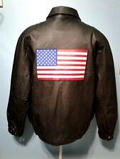 Vintage American Leather Bomber Jacket Biker Patriot USA Flag Black Sport XXL
