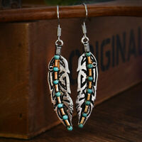 Antique 925 Silver Feather Turquoise Drop Dangle Hook Finished Earrings Bohemia