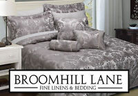 New HOTEL 7 PIECE SET Carrington Silver Grey Bedspread Cushions Luxury Opulent