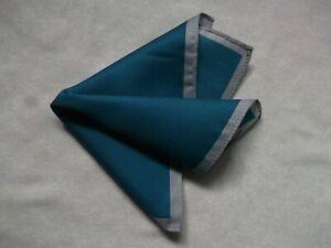 Mens Vintage Hankie Handkerchief Retro Pocket Square Teal Grey