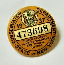 1937 New York State Hunting, Trapping and Fishing License Button