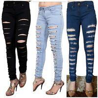 Women Ladies Stretch Ripped knee cut Slim Fit Skinny Denim jegging jeans Size UK