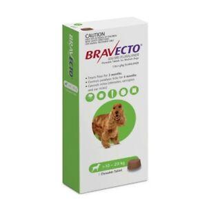 Bravecto Medium 10-20kg Green Dog Flea Treatment Chew Kills Fleas & Ticks